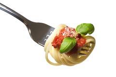Spaghettis auf Gabel Lizenzfreies Stockfoto