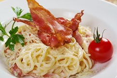 Spaghettis carbonara Stockfotografie