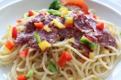 Spaghettis Carbonara-Rindfleisch Lizenzfreies Stockfoto