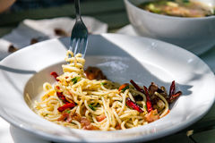 Spaghettis mit Fried Bacon, Paprika und Pfeffer Lizenzfreies Stockfoto