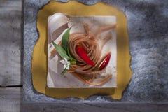 Spaghettis mit Knoblauch, Öl und Paprika Stockfoto