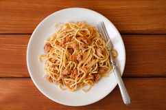 Spaghettis mit Soße auf einer weißen Platte Lizenzfreies Stockbild