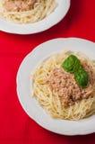 Spaghettis mit Soße auf rotem Hintergrund Stockfotografie