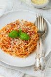Spaghettis mit Tomaten, Basilikum und Käse Lizenzfreie Stockfotos