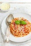Spaghettis mit Tomaten, Basilikum und Käse Lizenzfreies Stockfoto