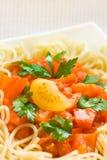 Spaghettis mit Tomatensauce - Teigwaren- und Italienerkücherezepte redeten Konzept an lizenzfreie stockfotografie