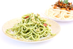 Spaghettis with pesto Royalty Free Stock Photos