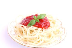 Spaghettis with sauce of tomatoes Royalty Free Stock Photo