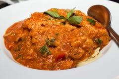 Spaghettis, Schinken Lizenzfreies Stockfoto