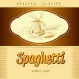 Spaghettis. Teigwaren. Bäckerei. Aufkleber, Satz für spaghet lizenzfreie abbildung