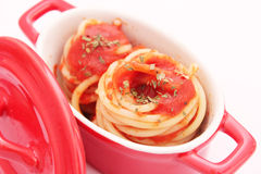 Spaghettis with tomato sauce Stock Photography