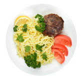 Spaghettis und Fleischklöschen Stockfoto