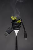 Spaghettis USB-Seilzug auf Gabel Stockbilder