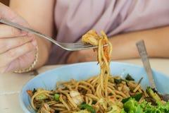 Spaghettis würzig Stockbild