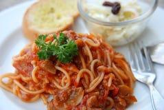 Spaghettti-Tomatensauce Stockfotografie