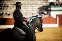 Spagnolo del torero a cavallo fotografie stock