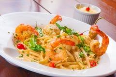 Spaguetti με τις γαρίδες στοκ φωτογραφία με δικαίωμα ελεύθερης χρήσης