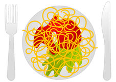 Spaguetti Maze. Start on the spaghetti on the left and find the way through the spaghetti to sort out of the plate on the right side. There cant be any spaghetti Stock Images