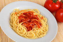 Spahgetti. A plate with spaghetti and tomato sauce Royalty Free Stock Photography