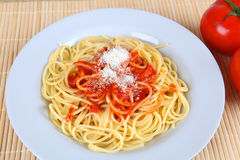Spahgetti. A plate with spaghetti and tomato sauce Stock Photo