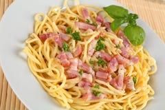 Spahgetti. Spaghetti carbonara with bacon and sauce Stock Photo