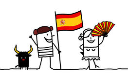 Spain !. Vector hand-drawn characters line Stock Photo