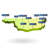 Spain 3d map with cities. Illustration of spain geographic map with biggest cities as road signs, vector file available Stock Photo