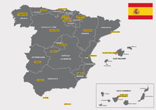 Spain administrative map. Map with flag of the Spanish regions and their capitals Royalty Free Stock Images