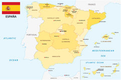 Spain administrative and political vector map with flag Stock Photography