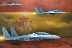 Spain air forces strike concept. Air planes attack on Spain flag background. 3d Illustration. Spain air strike concept. Modern war airplanes attack on Spain flag Royalty Free Stock Images