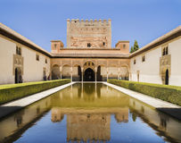 Spain. The Alhambra. Court of the Myrtles and Palacio de Comares stock images