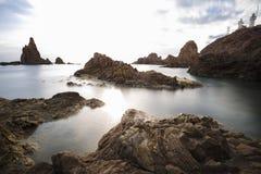 Spain, Almería, Cabo de Gata, Sirens Reef Arrecife de las sirenas - Long exposure on sunset, sea and silk effect on the water royalty free stock images