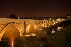 Roman Bridge on Guadalquivir River in Cordoba royalty free stock photo