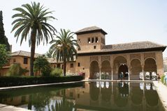 Spain, Andalusia, Granada, Alhambra Palace Pavilion and reflection in a pool. Alhambra Palace Garden in Granada, Andalusia, Spain, Europe stock images