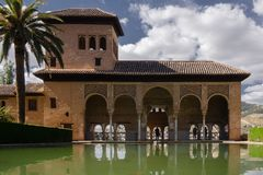 Granada Historic Alhambra at Pool Generalife stock image