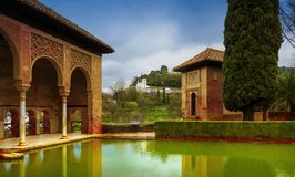 Alhambra - ancient arabic fortress , Granada, Andalusia, Spain. Spain, Andalusia / Granada - March 17, 2018: Alhambra - ancient arabic fortress and stock photography
