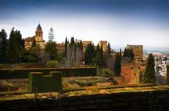 Alhambra - ancient arabic fortress , Granada, Andalusia, Spain. Spain, Andalusia / Granada - March 17, 2018: Alhambra - ancient arabic fortress and royalty free stock photo