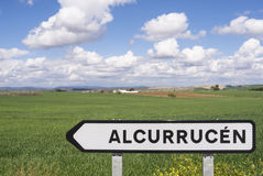 Spain Andalusia Landscape Signpost Stock Photos