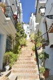 Spain, andalusia, the village of Frigiliana. Steps leading to town. stock image