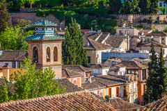 Spain, Andalusia Region, Granada town panorama from Alhambra vie Stock Photography