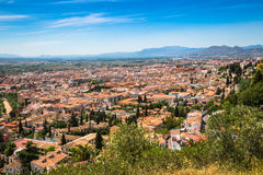 Spain, Andalusia Region, Granada town panorama from Alhambra vie Royalty Free Stock Photos