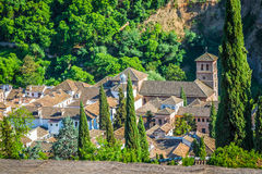 Spain, Andalusia Region, Granada town panorama from Alhambra vie Royalty Free Stock Photo