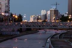 Malaga City view at night scenery stock photography
