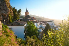SPAIN, ANDALUSIA ZAHARA: View on old church during sunset in bea Stock Images