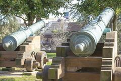 Old cannon for show at park stock photos