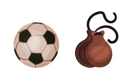 Spain Attributes with Castanets and Football Game Ball Vector Set