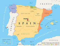 Spain autonomous communities political map Royalty Free Stock Photo