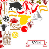 Spain background design. Spanish traditional symbols and objects Stock Image