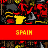 Spain background design. Spanish traditional symbols and objects Royalty Free Stock Photo
