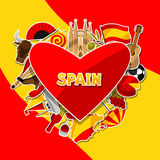 Spain background design. Spanish traditional sticker symbols and objects Royalty Free Stock Photo